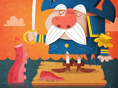 Cap'n Crunch vs Soggy Squid captain squid adventure vintage cereal mascot typography cartoon illustration