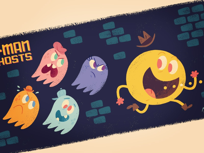 Pac-Man and the Ghosts video game arcade game ghosts cartoon illustration