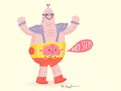 Baby Steps tmnt teenage mutant ninja turtles cartoon illustration alien robot