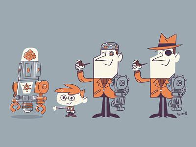 Character Concepts robot retro character design illustration cartoon