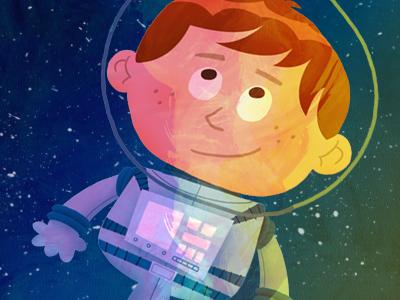 Abraham Lewis - Jr. Spaceman space astronaut boy adventure illustration sci-fi cartoon rocket explorer