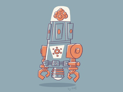 Brainicon 3000 robot retro character design illustration cartoon