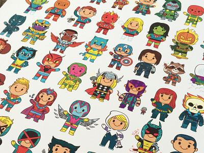 Little Heroes Print poster illustration comics marvel superhero