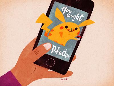 Gotta Catch Em All vintage pikachu nintendo illustration video game pokemon
