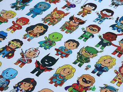 Delightfully Cute Little Heroes poster art illustration batman superheroes comics