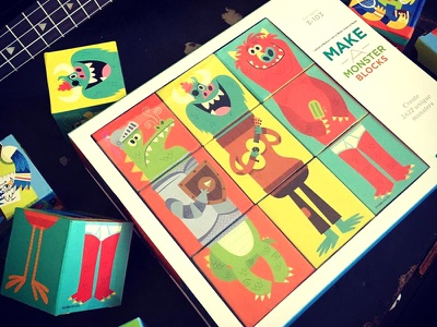Make A Monster crocodile creek illustration puzzle game blocks