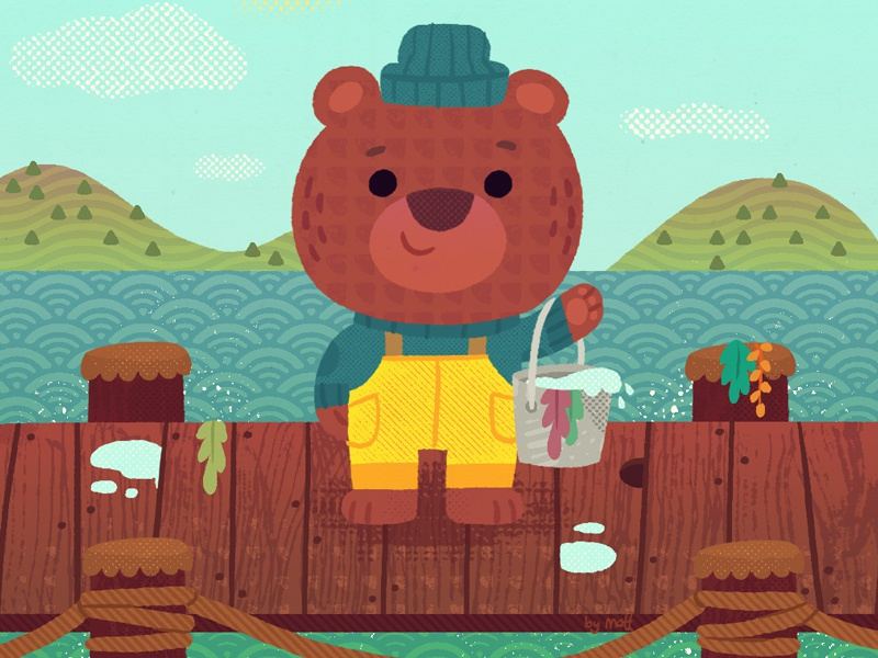 Waffle Bear kidslitart waffle fishing bear illustration
