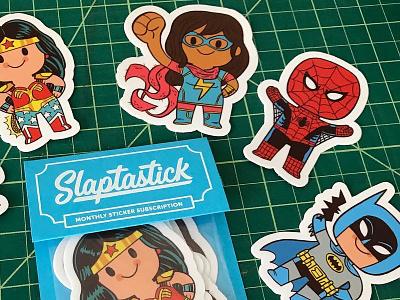 Slaptastick July Pack slaptastick wonder woman spiderman batman little heroes superheroes sticker