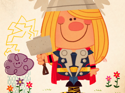 Thor's Day Off avengers marvel comics movie thor superhero vinatage retro card illustration cartoon