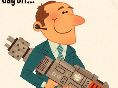 Agent Coulson's Day Off marvel avengers movie comics shield cartoon illustration weapon gun