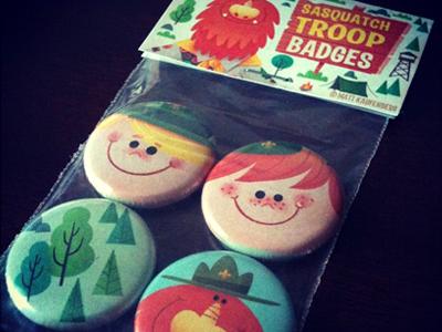 Sasquatch Troop Badges buttons badges pins sasquatch kids children scout camping forest cartoon illustration