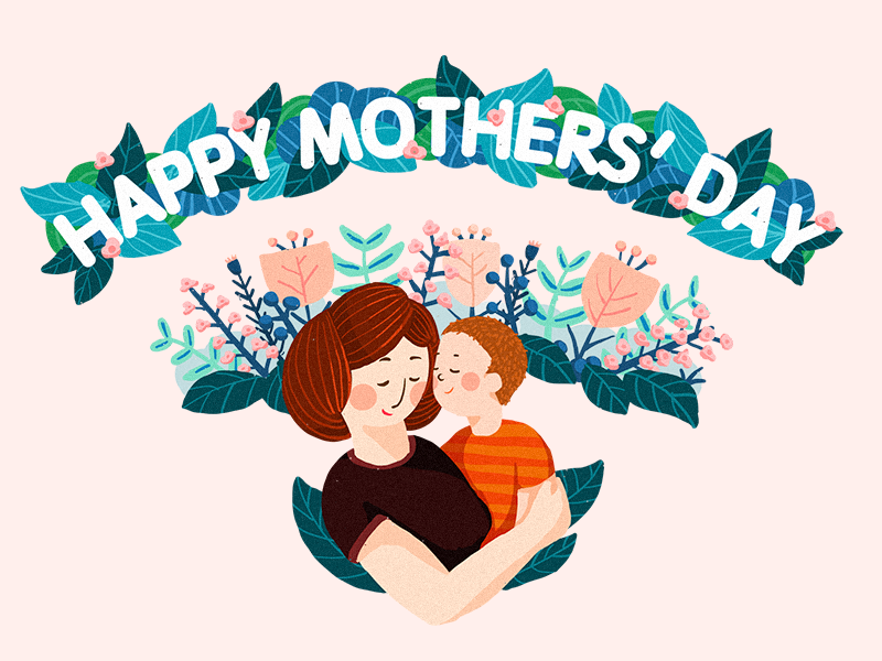 Happy Mothers' Day wifi mother flower illustration