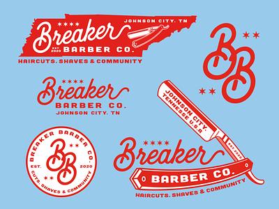 Breaker Barber Co. stars haircuts shaves breaker straight blade letter b logo letter b tennessee barbershop barber