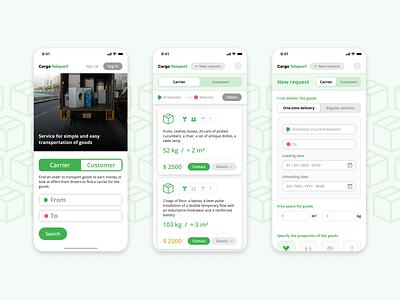 Cargo Teleport ui design ux app design ios ui mobile