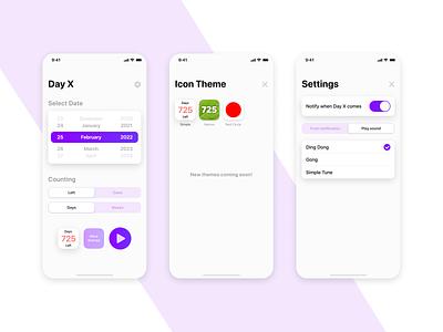 Day X (Main Screens) ux ui design app ios mobile ui