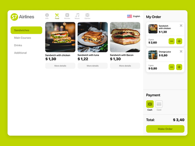 The concept of the module for ordering food in the plane ui design food app ux ui food menu