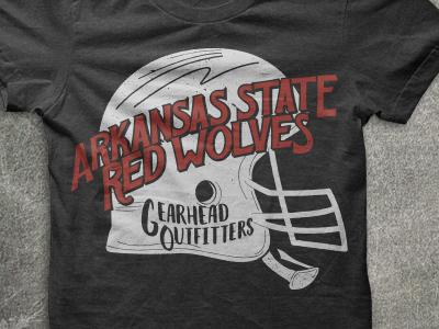 A-State Shirt red wolves north east arkansas hand lettering vintage shirt football jonesboro arkansas