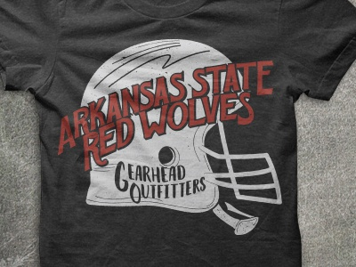 A-State Shirt red wolves north east arkansas hand lettering vintage shirt football jonesboro arkansas