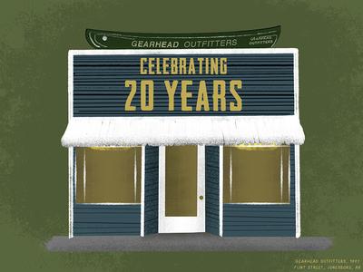 Flint Street cartoon drawing draw illustration anniversary 20 gearhead outfitters gearhead arkansas