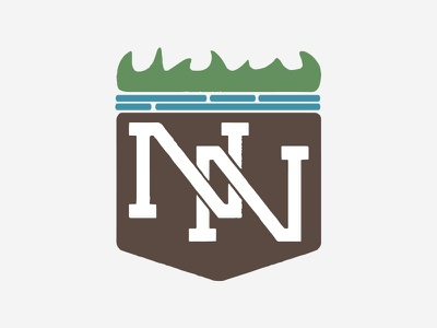 Nash & Nile monogram water grass hand drawn art logo yard lawn mowing landscape