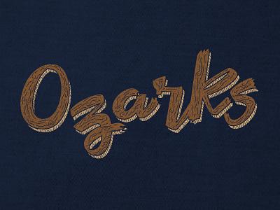 Ozarks wood handlettering typography apparel design shirt fayetteville ozark ozarks