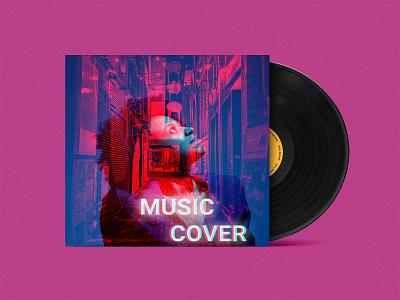 Double Exposure Music Cover Album typography branding beautiful design photoshop album mokeup cover design music