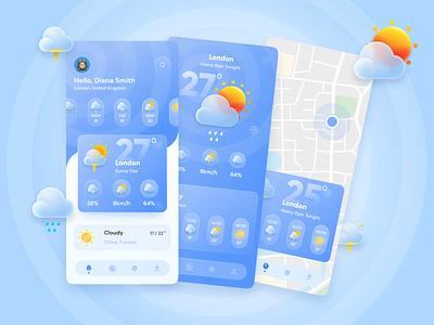 Weather App ⛅🌥🌦🌻 website cloud mobile app application weather weather app ux icon vector illustration beautiful design branding logo graphic design ui