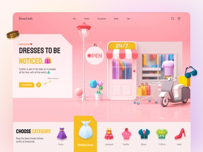 Clothing Store Web UI art pop art fashion web ui clothing store cloth shop shopping website 3d shopping dress 2021 icon ux branding illustration graphic design design ui