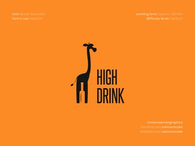 High Drink Logo Design modern logos clever logos smart logos creative logos negative space logo negative space wine logo wine bottle giraffe logo giraffe brand design branding logo design logo design graphic designer brand designer logo designer