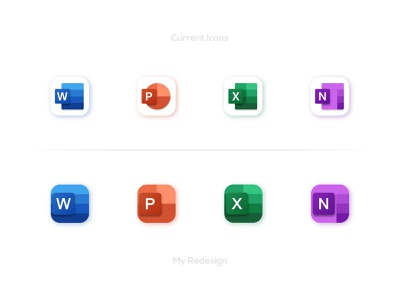 Office Icons Redesign - Microsoft microsoft onenote microsoft excel microsoft powerpoint microsoft word icon concepts graphic designer brand designer logo designer creative designs app icon designs app icons microsoft office 365 icons microsoft office 365 creative work redesign concept icon redesign icon designs microsoft icons microsoft office microsoft