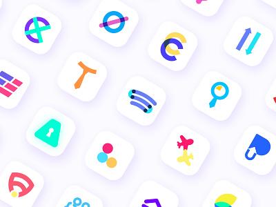 Minimal App Icons logo design clean art modern logos flat logos minimal logos creative logos branding vector minimal flat icon app icon app logo app logo design graphic designer brand designer logo designer
