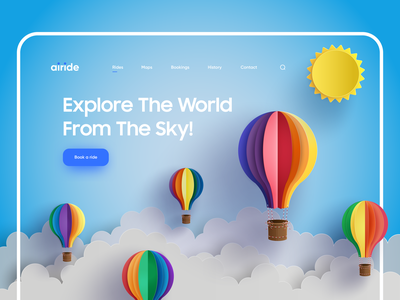 Air Balloon Ride Landing Page graphic designer air balloon landing dribbble paper art creative web design paper look design concepts origami creative design web landing page website concept web ui website design concept designer web design web design ui landing page
