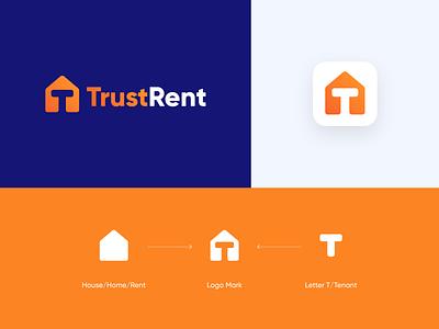 TrustRent Logo Design icon orange modern minimal t letter letter logo review buy sell home house vector branding logo design logo designer brand designer design logo rent trust