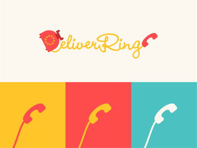 DeliverRing Wordmark Design brand colors delivery food food delivery startup company app logo app icon analog phone analog phone wire lettering cord logo vector branding logo design logo brand designer design logo designer
