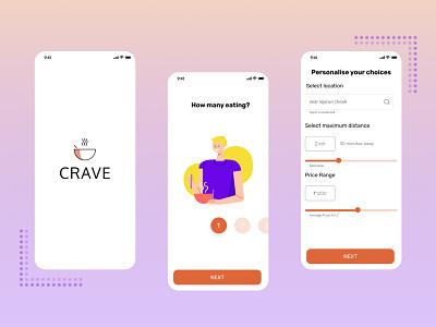 Crave- Food App concept user interface user interface design restaurant app food foodapp uxdesign uxui ui ux