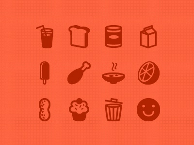 Icons food beverage bread meat chicken leg canned dairy popsicle bowl orange peanut snack cupcake trash happy meal icon web