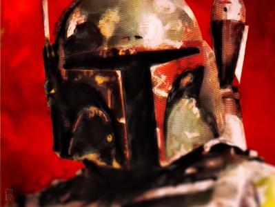 Boba Fett movie portrait illustration star wars disney