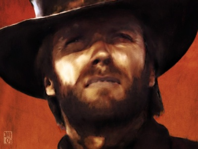 Clint Eastwood movies painting intaglio photoshop illustrator portrait