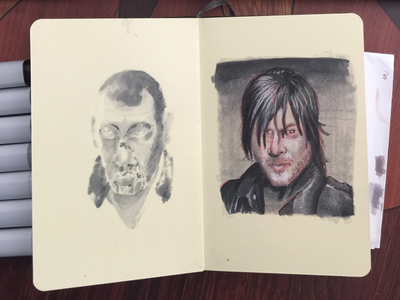 drawlloween, day 12. daryl dixon moleskine pencil marker brush ink walking dead drawing dead