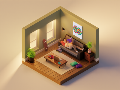 Living room in the morning isometric illustration isometric concept morning coffee character blender 3d morning blender 3d illustration