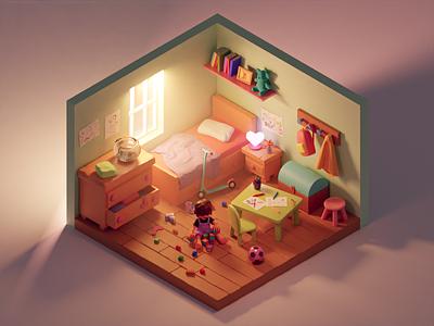 Children's Bedroom diorama 3d modeling isometric illustration kids kid child isometric blender 3d 3d illustration