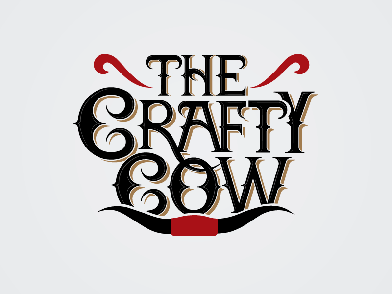 The Crafty Cow lettering logo design type typography logotype western design logo beer cow crafty