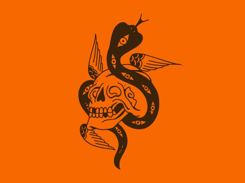 Skull & Snake skull head oldschool tattoo oldschool tattoo snake skull vector illustration design
