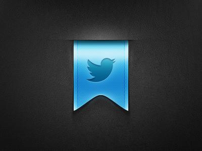 Twitter rebound. design tjaydesign awesome blue twitter bird ribbon banner social tweet lable badge