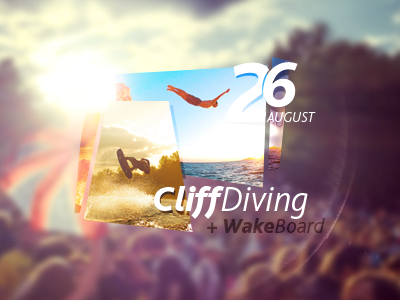 CliffDiving flyer. design tjaydesign awesome flyer poster cliff diving board wake sea summer flares colorful swimming sun event