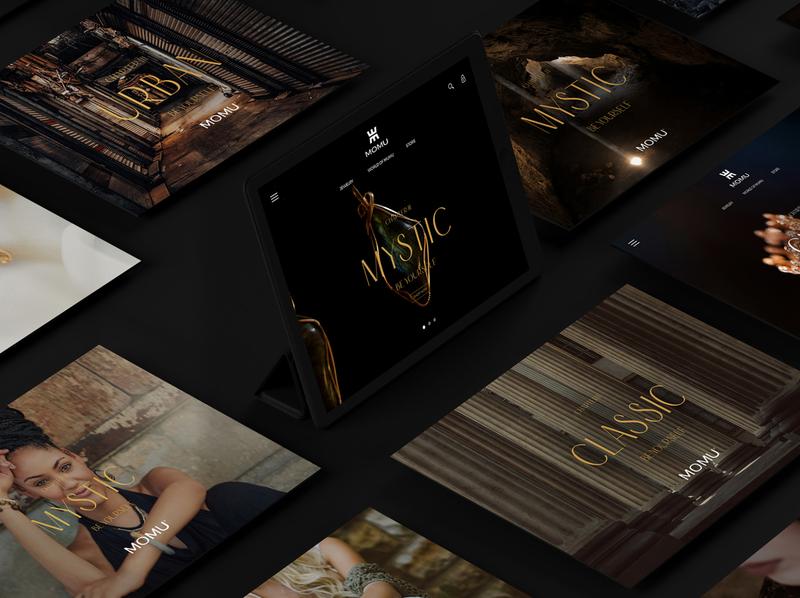 Branding Momu woman logo brand colombian baranding branding colombian desing woman web desing woman store gold jewelry store jewelry logo jewelry design jewelry shop jewelry black website webdesign website