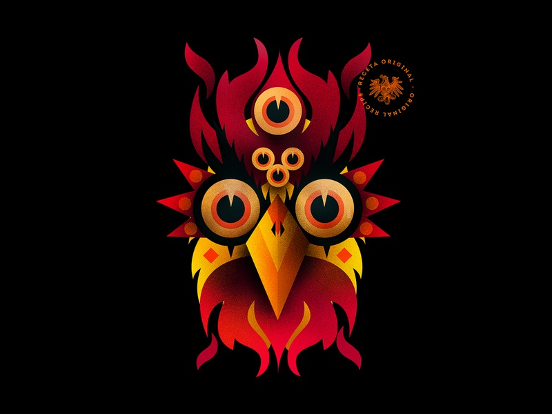 Orange Fire Guardian - Brava Hot sauces chamoy red hot chili peppers chili pepper pepper illustrator photoshop black prehispanic mexico illustration bird bird illustration desin illustration art character illustration character rooster illustration rooster