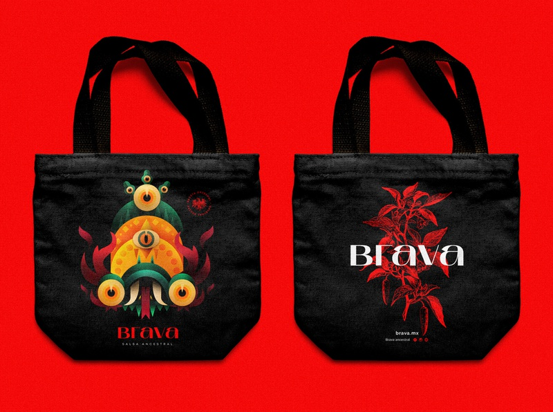 Branding Brava - Hot sauces prehispanic sauce brava flame colombia illustration character character snake black and red red black chili pepper red hot chili peppers hot sauce brand illustration brand identity mexico brand bag desing bag