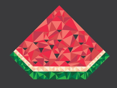 Watermelon Geometric Illustration illustration vector geometric watermelon triangles