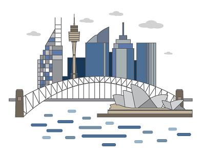 Sydney <3  illustration opera house tower sydney cityscape building australia bridge